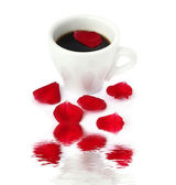 Coffee with rose petal — Stock Photo
