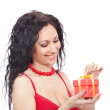 Foto Stock: Beautiful woman gift box