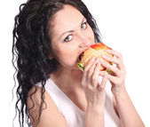 Woman with hamburger — Stock Photo