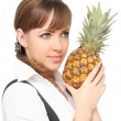 Beautiful woman with ananas - Stock Photo