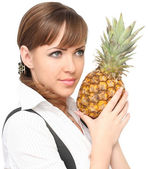 Beautiful woman with ananas — Stock Photo