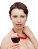 Beautiful woman with wineglass — Stock Photo