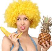Beautiful woman with fruits — Stock Photo