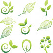 Set of leaf design elements — Imagen vectorial