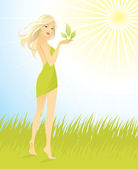 Beautiful woman in green grass — Stock Vector