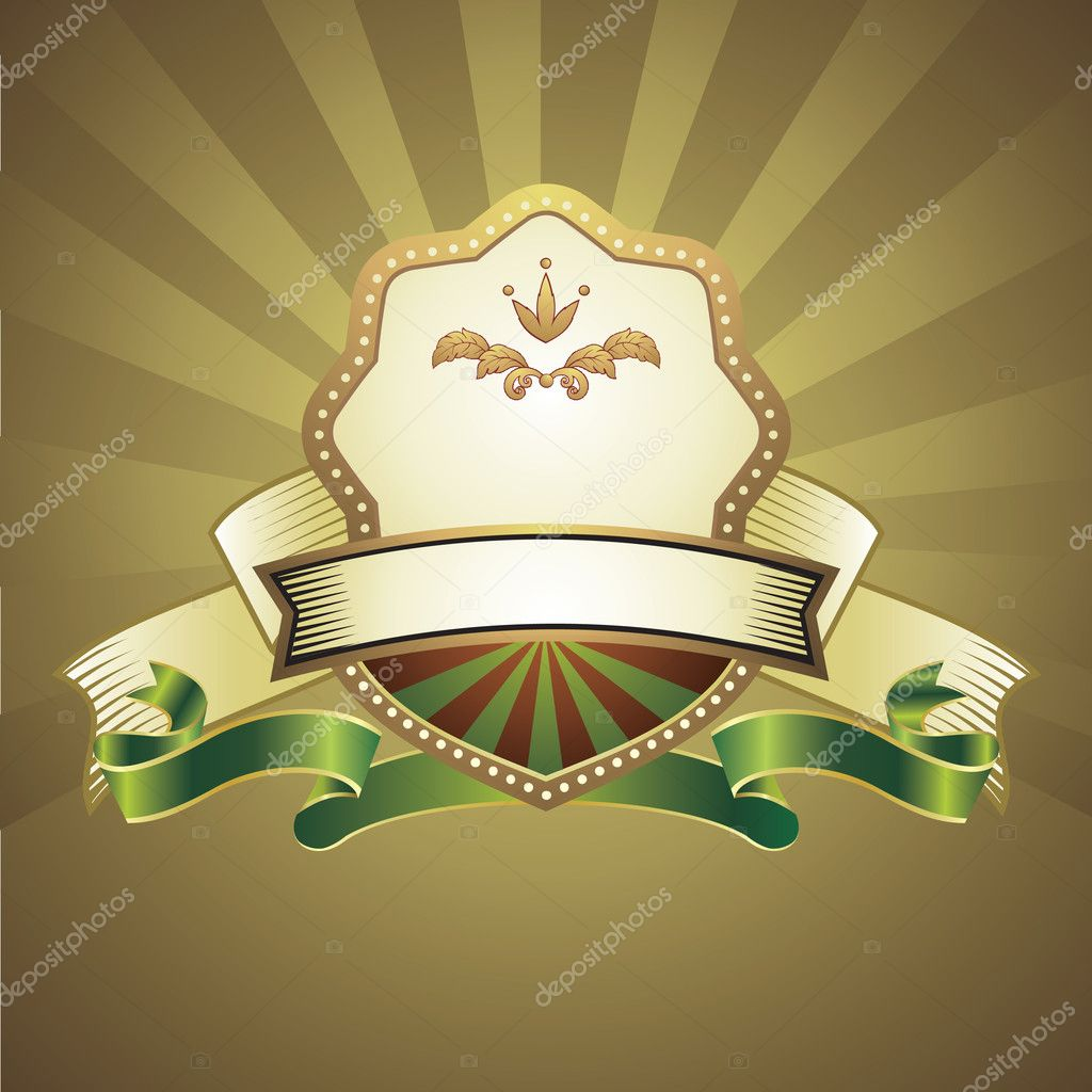 Gold background with emblem — Stock Vector #2003304