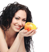Bella donna con apple — Foto Stock