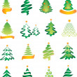 Set of New Year tree — Imagen vectorial