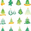 Stock Vector: Set of New Year tree