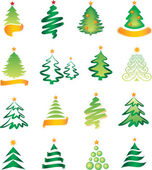 Set of New Year tree — Stock Vector