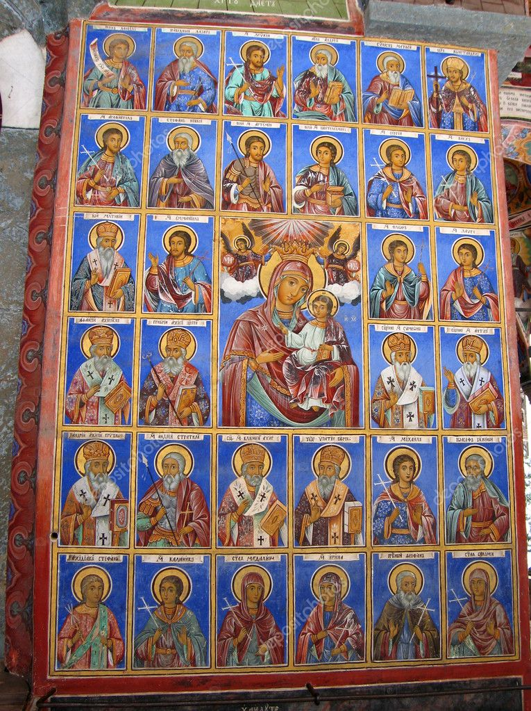 Icon maria with jesus and saints (in Bulgaria) — Stock Photo #1944550