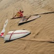 Stock Photo: Middle Ages shields and flags in sand
