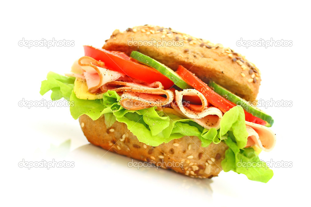 Fresh sandwich with ham and cheese and vegetables — Stock Photo #1893146