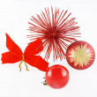 Christmas balls red flake and red star - Stock Photo