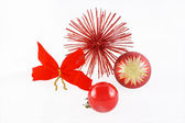Christmas balls red flake and red star — Stock Photo