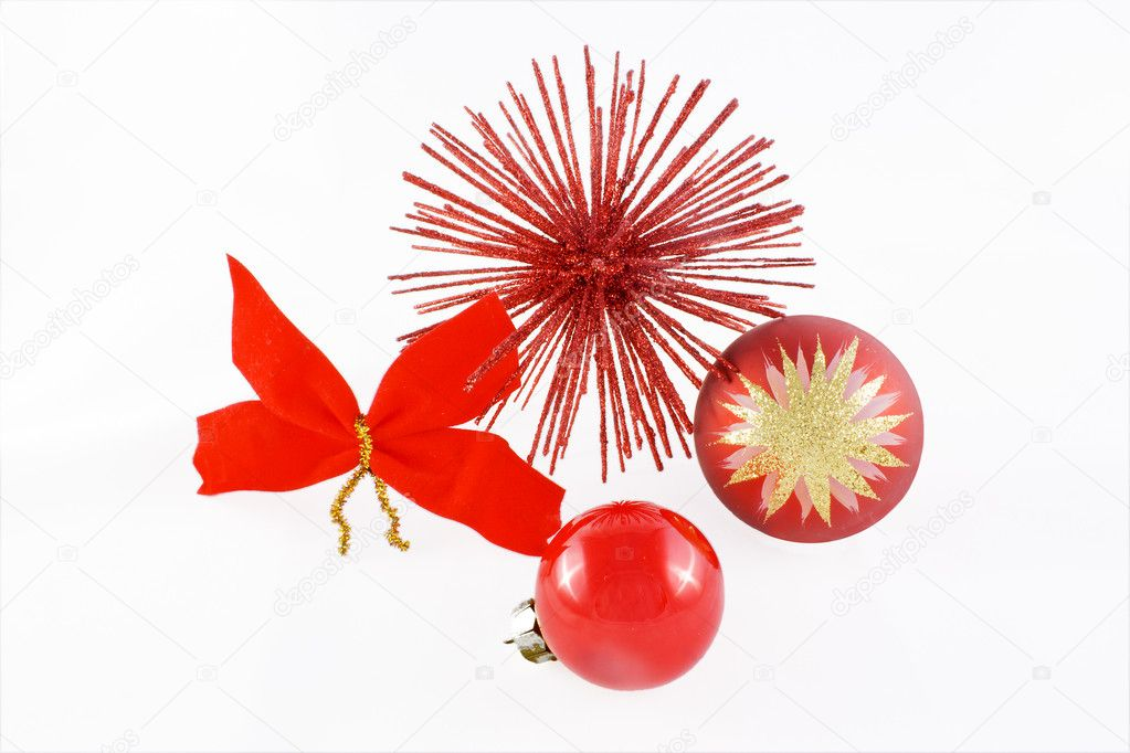 Red Christmas balls with red flake and red star  Stock Photo #2046848