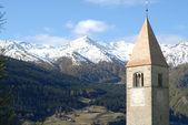 Reschen-kirchturm — Stockfoto