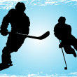 Stock Vector: Hockey players on ice