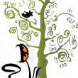 Cat and a bird in a tree — Stock Vector