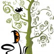 Stock Vector: Cat and a bird in a tree