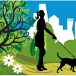 Woman with a dog (park) — Stock Vector