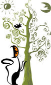 Cat and a bird in a tree — Vetorial Stock