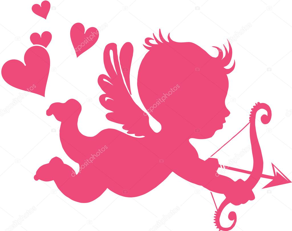 Happy Cupid with bow and arrow - vector illustration;  — Stock Vector #1942178