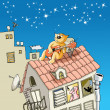 Cat on a roof - Stock Vector
