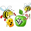 Bee and a crossword puzzle - Vettoriali Stock 