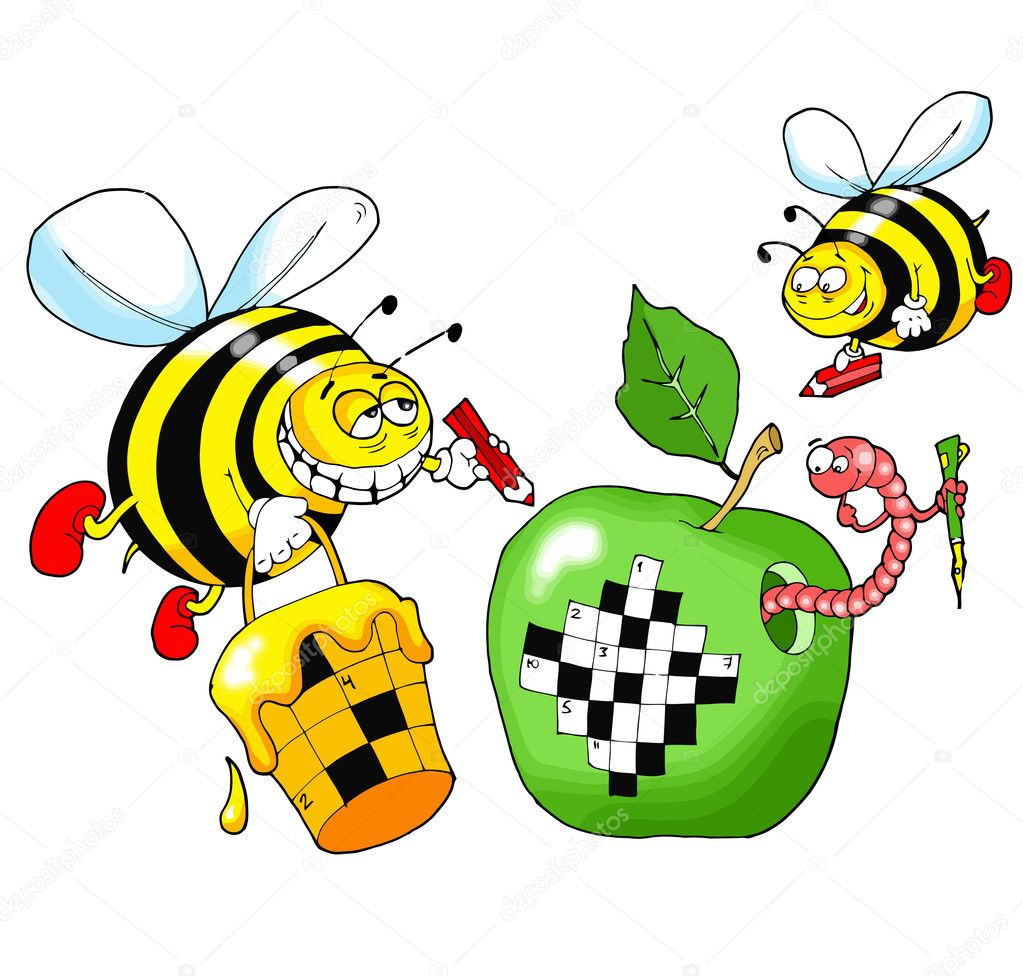 Bees solve a crossword puzzle written on a green apple — Stock Vector #2043703