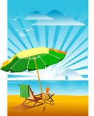 Beach umbrella — Stock Vector