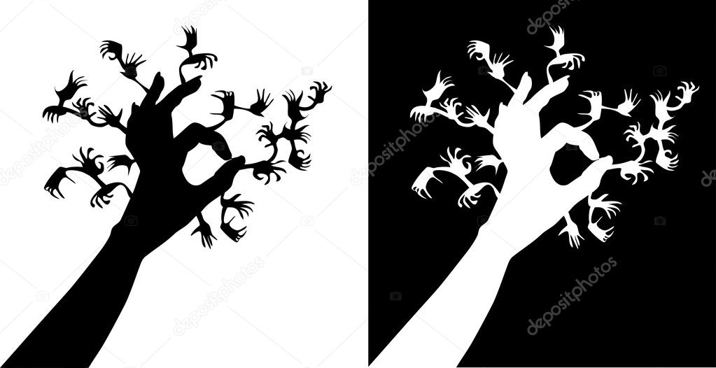 Terrible tree consisting of set of hands;  — Stock Vector #2182254