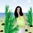 The girl on the beach — Stock Vector