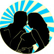 Loving couple on a round background with — Stock Vector