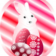 Stock Vector: Easter bunny with Easter eggs