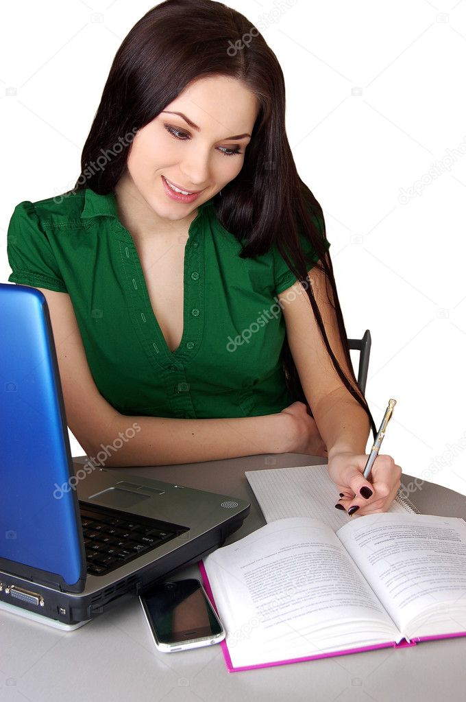 Portrait of a young woman studying isolated on white — Stock Photo #1987878