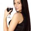Beautiful brunette girl drinking wine — Stock Photo