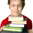 Funny boy with set of books — Stock Photo