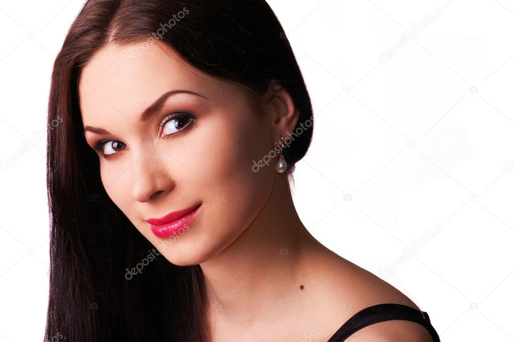 Portrait of young beautiful woman wearing pearl earrings  — Stock Photo #2596748