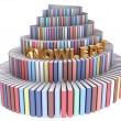 Stock Photo: Tower of Babel created from books and Kn