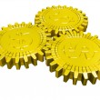 Stock Photo: Golden money gears isolated