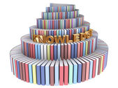 Tower of Babel created from books and Kn — Stock Photo