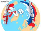 Russia vs Canada ice hockey — Stock Photo