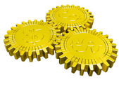 Golden money gears isolated — Stock Photo