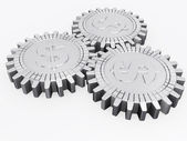 Silver money gears isolated — Stock Photo