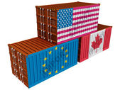 Trade containers USA EU Canada — Stock Photo