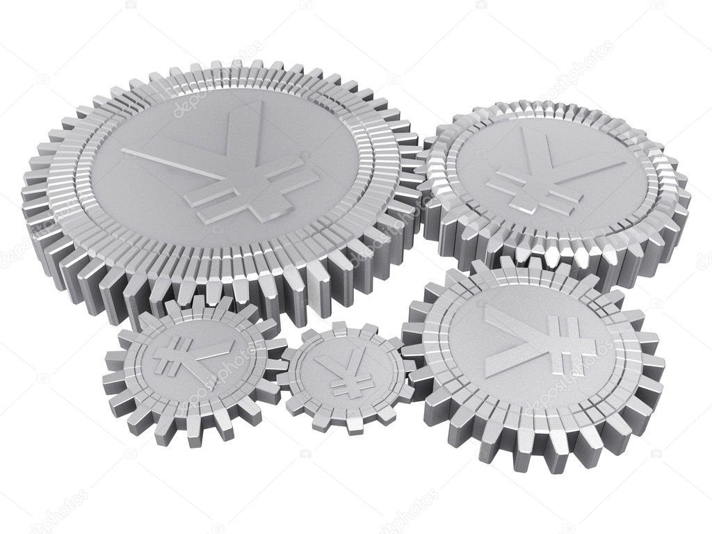 Five silver yuan gears — Stock Photo #1959761