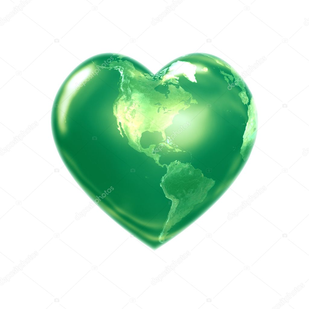 World heart green america — Stock Photo #1959873