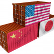 Royalty-Free Stock Photo: Trade containers USA Japan China