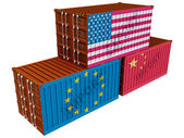 Trade containers USA EU China — Stock Photo